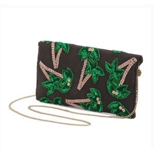 Anthro From St Xavier Tropica Palm Beaded Clutch